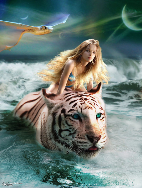 Woman riding tiger in surf