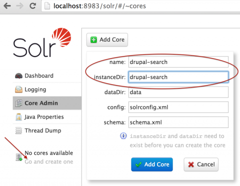 Solr core Admin page, creating a Drupal Search core